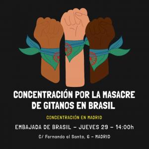 🚨𝐂𝐎𝐍𝐂𝐄𝐍𝐓𝐑𝐀𝐂𝐈𝐎́𝐍 𝐏𝐎𝐑 𝐋𝐀 𝐌𝐀𝐒𝐀𝐂𝐑𝐄 𝐃𝐄 𝐆𝐈𝐓𝐀𝐍𝐎𝐒 𝐄𝐍 𝐁𝐑𝐀𝐒𝐈𝐋.   La policía militar de Vitòria de Conquista (Brasil) está dando caza a los gitanos de la zona matándolos en el sitio. Ya han sido varios los ejecutados a quemarropa, entre ellos un niño de tan solo 13 años.  Acudamos todas y todos el próximo JUEVES 29 DE JULIO - 14:00h a la EMBAJADA DE BRASIL en MADRID.   Unamos nuestras fuerzas y alcemos la voz para que esta atrocidad termine y se haga justicia. 💙💔💚🩸  #NOSESTANMATANDO #CONTRAOGENOCIDIOCIGANO